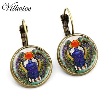 Handmade Egyptian Scarab Earrings Round Glass Dome Art Print Fashion Ancient Egypt Jewelry 2017 New Arrival