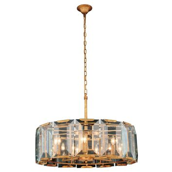 "Monaco 30"" Diam Chandelier, Golden Iron Finish, Emerald Cut Glass"