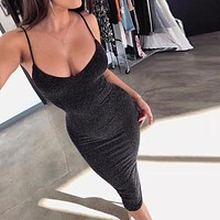Fashion Low Chest Solid Color Sleeveless Strap Package hip Dress