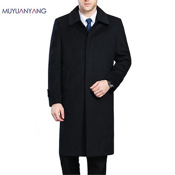 Men's Wool Coats & Jackets Winter Cashmere Jacket Man Long Section Single Breasted Overcoat Collar Casual Woolen Coat