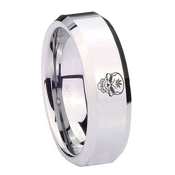 8MM Mirror Bevel Edges Skull Marijuana Leaf Silver Tungsten Laser Engraved Ring