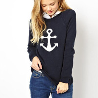 'The Lyndon' Black  Anchor Patterned Pullover