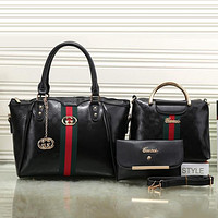 Gucci Women Leather Shoulder Bag Satchel Tote Handbag Crossbody Three Piece Set