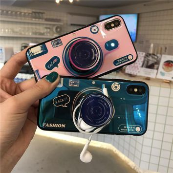 Vintage Idear Camera Phone Case For iphone X Case For iphone 6 6s 7 8 plus Cover Luxury Blu-ray Soft Cases With Mobile Holder