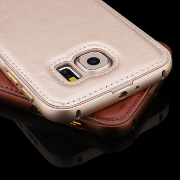 RANIPOBO Electric Plating Metal Frame & leather Case for Samsung S6