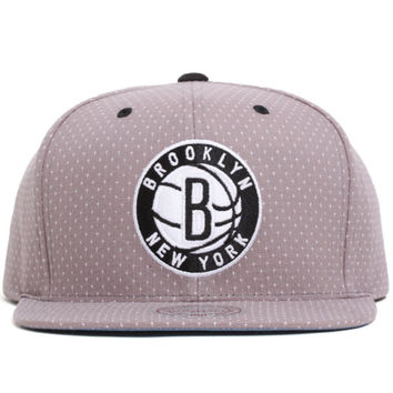 Brooklyn Nets Dotted Cotton Snapback Hat Grey