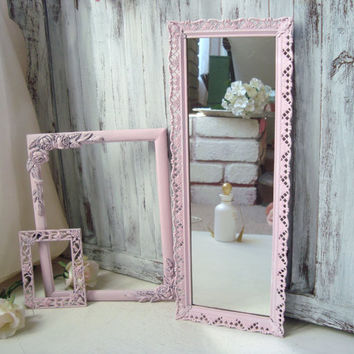 Pink Vintage Frames, Filigree Ornate Mirror, Ornate Frames, Set of 3 Baby Pink Frames, Floral Detailed Frames, Nursery Decor