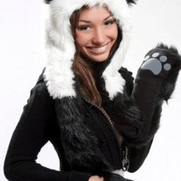 Panda Full Animal Hood Hoodie Hat Faux Fur 3 in 1 Function Paw Mittens Gloves
