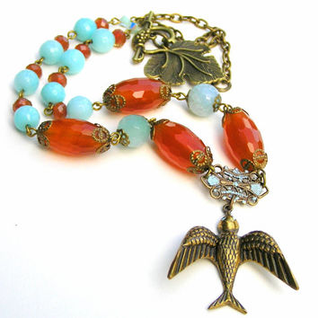 Gemstone Carnelian Beaded Necklace, Bird Pendant, Gemstone Necklace