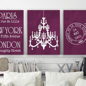 Paris London New York Wall Art, Watercolor Chandelier Bedroom Art, CANVAS or Print Paris Travel Theme, Bathroom Vanity Room Decor Set of 3