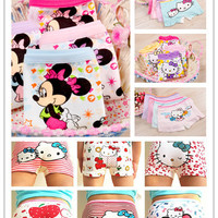 10pcs.girl underwear panties boxer hello kitty  children pants kids  underware cartoon mix