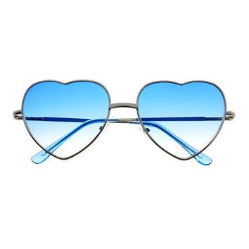 Cute Hippie Look Heart Shaped Silver Metal Womens Sunglasses W2020
