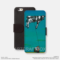Flying cow iPhone leather wallet cover iPhone case Samsung Galaxy case 014