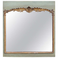 18th Century French Mirror with a Green Painted and Gilt Frame
