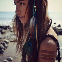 TRIBAL DREAMS /// Boho Festival Handmade /// Natural Feather Headband