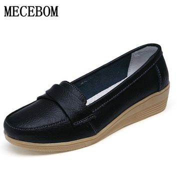 2017 Shoes Woman Leather Women Shoes Flats 3 Colors Loafers Slip On Women's Flat Shoe