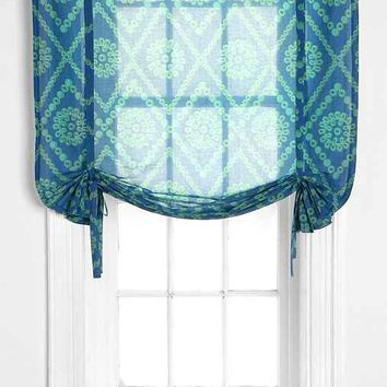 Plum & Bow Two-Tone Eyelet Draped Shade Curtain- Blue 45x63