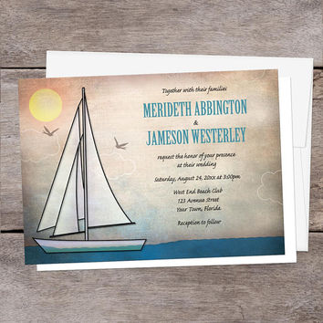 Nautical Wedding Invitations - Rustic Sailboat at Sea, Sailing Wedding, Sailboat Wedding - Printed Sailboat Invitations