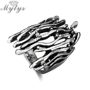 Mytys Old Tree branch Ring Retro Style Tibetan Silver Antique Rings Punk Fashion Design Jewelry Half Finger Ring for Women R2031