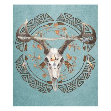 Native American Bohemian Autumn Deer Skull Fleece Blanket