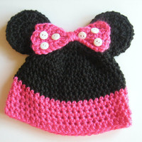 Crocheted Minnie Mouse Hat 3 - 6 Months