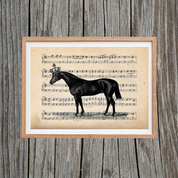 Vintage Horse Print Hanging Crown Poster Antique Wall Art