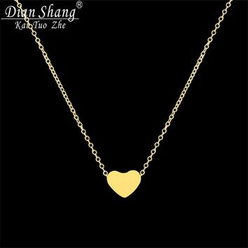 DIANSHANGKAITUOZHE Women Jewelry Stainless Steel Chain Necklace Gold Color Dainty Tiny Heart Shaped Necklaces Pendants