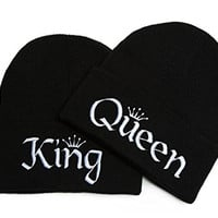 Beanie Bliss Couples Clothing King and Queen Hats Embroidered Beanies One Size Black