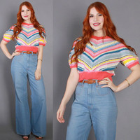 70s Denim BELL BOTTOMS / 1970s Faded Blue High Waist Jeans, xs