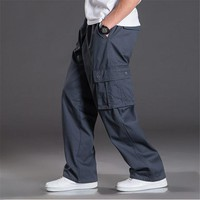 Mens Baggy Pants Big Size Multi Pocket Military Overalls Outdoors High Quality Cargo Long Trousers 5XL 6XL A920
