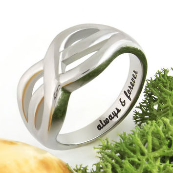"Infinity Ring Purity Ring ""Always And Forever"" Engraved Inside, Perfect Gift"