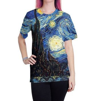 Blue Colorful Van Gogh Starry Night Print Round Neck Casual Cotton Blend T-Shirt