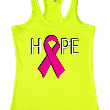 Women's Hope Breast Cancer Awareness Racerback TANK TOP LIME
