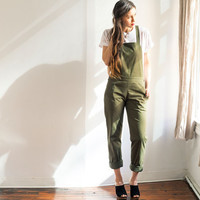 OLIVE WINDSOR OVERALLS by loup for Of a Kind