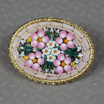 Vintage Italian Micro Mosaic Pink Floral Gold Oval Framed Brooch