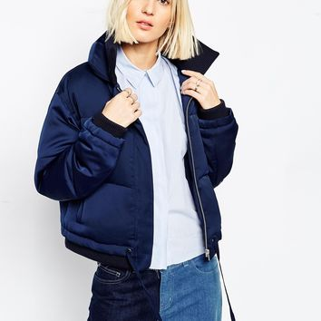 ASOS WHITE Padded Jacket In Satin at asos.com