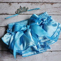 Blue Aquamarine Satin Bloomer Set- March Birthstone- First Birthday- Newborn Outfit- Cake Smash Outfit- Photo Prop- Pisces- Aries