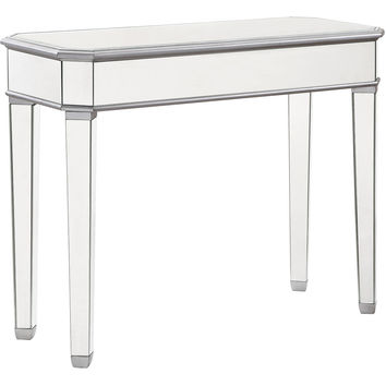 "Chamberlan 41""x17""x33"" Rectangle Mirrored Console Table, Silver"