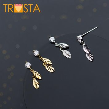 Trusta 100% 925 Solid Real Sterling Silver Jewelry 16mmX5mm Leaves CZ High Quality Stud Earrings For Girl Friend Kid Lady XY920