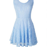 V-Back Lace Skater Dress