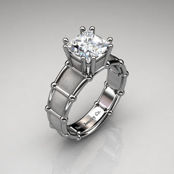 Modern Italian 950 Platinum 2.0 Ct Princess White Sapphire Designer Engagement Ring R1021-PLATSWS