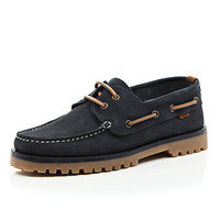 River Island MensNavy leather cleated sole boat shoes