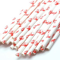 B20 Paper Straw. Skull Bone. Red. White
