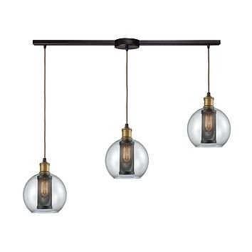14530/3L Bremington 3 Light Linear Bar Pendant In Tarnished Brass/Oil Rubbed Bronze With Clear Glass And Perforated Metal Cage