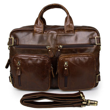 Brown Genuine Vintage Leather Men's Backpack Briefcase Laptop Bag 5 Uses