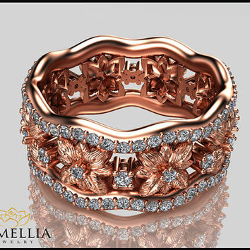 14K Rose Gold Diamond  Ring,Flower Ring,Designer Wedding ring,Anniversary Ring,Diamond Eternity Band,Ladys Jewelry,Unique Wedding Rings