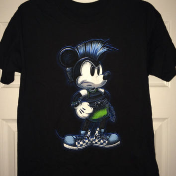 Sale!! Vintage MICKEY MOUSE punk T-Shirts DISNEY Tee