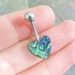 Abalone Shell Heart Belly Button Jewelry Belly Ring