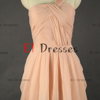 One shoulder zipper back  Cross in front Bridesmaid Dress Prom Dress homecoming dresses,cocktail dresses
