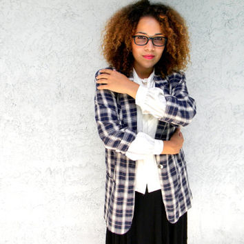 Plaid Boyfriend Jacket - Vintage 80s Oversized Plaid Print Autumn Blazer in Navy Blue and Cream Plaid Linen Fabric - Large L